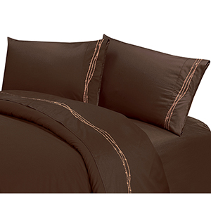 Barbwire Chocolate Four-Piece Queen Sheet Set