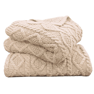 Cable Knit Cream Throw