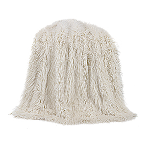 Mongolian White Faux Lamb Fur Throw