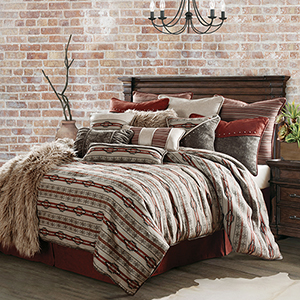 Silverado Grey and Red Super King Four-Piece Comforter Set