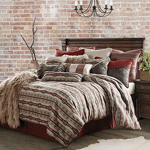 Silverado Grey and Red Super Queen Four-Piece Comforter Set