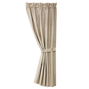 Silverado Cream Faux Leather 84 x 48-Inch Curtain Single Panel