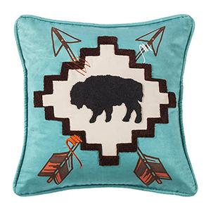 Serape Buffalo Turquoise 18 x 18 In. Throw Pillow