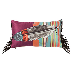 Serape Feather Multicolor 24 x 12 In. Throw Pillow