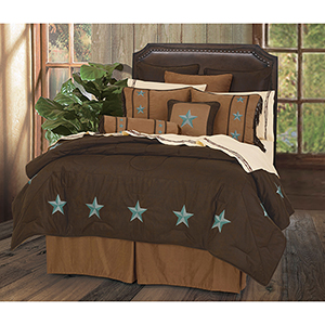Laredo Chocolate and Turquoise Twin Five-Piece Comforter Set
