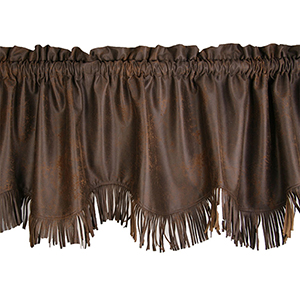 Barbwire Chocolate Suede 84 x 18-Inch Valance with Fringe