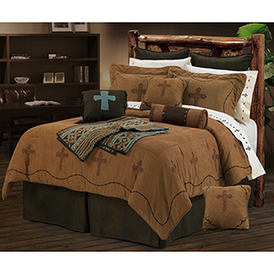 Barbwire Crosses Tan Super King Seven-Piece Comforter Set