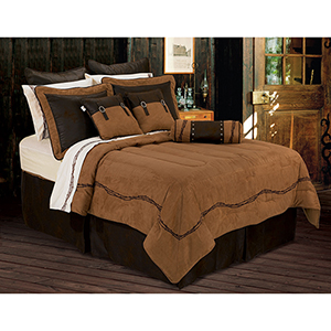 Embroidered Barbwire Tan Twin Five-Piece Comforter Set