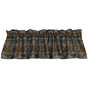 Del Rio Brown and Blue Chenille 84 x 18-Inch Valance