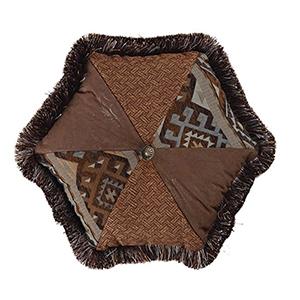 Rio Grande Blue and Brown 17 x 17 In. Hexagon Throw Pillow