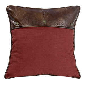Ruidoso Red Euro Sham with Faux Leather and Conchos