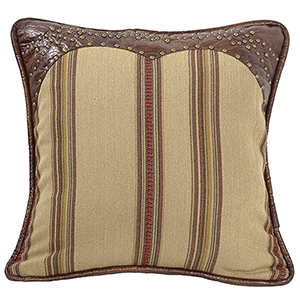 Ruidoso Tan and Brown 18 x 18 In. Throw Pillow with Leather Trim