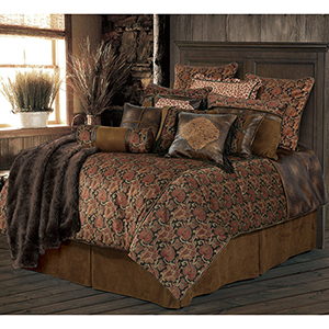 Austin Chocolate and Red Super King Five-Piece Comforter Set