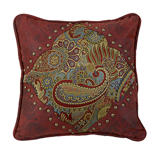 San Angelo Paisley 18 x 18 In. Throw Pillow with Red Faux Leather