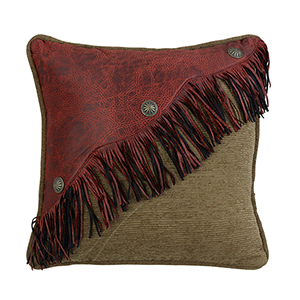 San Angelo Tan and Red Faux Leather 18 x 18 In. Throw Pillow
