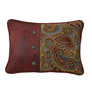 San Angelo Paisley and Red Faux Leather 16 x 21 In. Throw Pillow