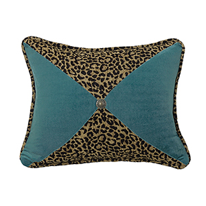San Angelo Leopard and Teal 16 x 21 In. Throw Pillow