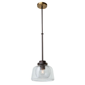 Single Oil Rubbed Bronze and Brass One-Light Mini Pendant