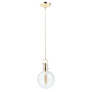 Single Polished Brass One-Light Mini Pendant