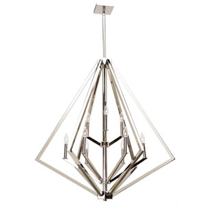 Breezy Point Polished Nickel Nine-Light Chandelier