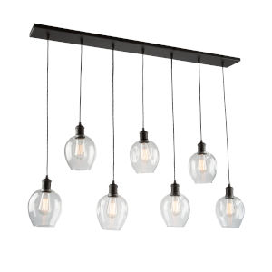 Clearwater Semi Gloss Black Seven-Light Island Pendant