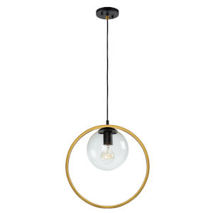 Lugano Black and Vintage Brass One-Light Mini Pendant