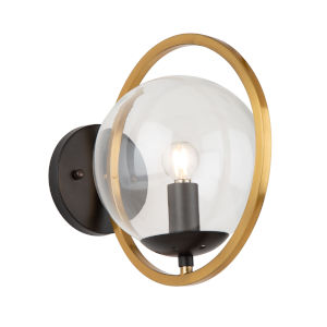 Lugano Black and Vintage Brass One-Light Wall Sconce