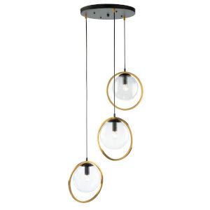 Lugano Black and Vintage Brass Three-Light Pendant