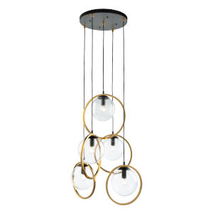 Lugano Black and Vintage Brass Five-Light Pendant