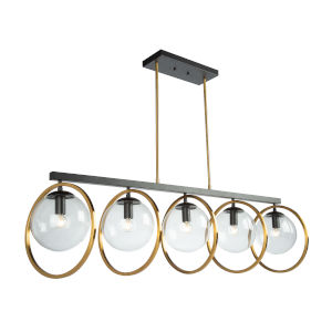 Lugano Black and Vintage Brass Five-Light Island Pendant