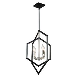 Preston Semi Matte Black and Brushed Nickel Four-Light Pendant