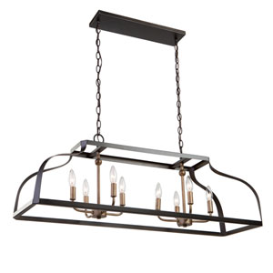 Worthington Oil Rubbed Bronze and Antique Gold Eight-Light Island Pendant