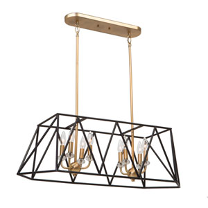 Harmony Black and Satin Brass Eight-Light Island Pendant