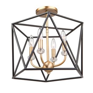 Harmony Black and Satin Brass Four-Light Semi Flush Mount
