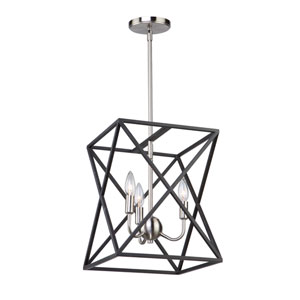 Elements Black and Polished Nickel Four-Light Chandelier