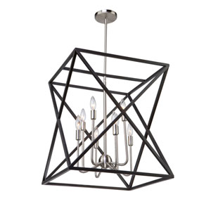 Elements Black and Polished Nickel Eight-Light Chandelier