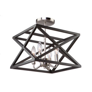 Elements Black and Polished Nickel Four-Light Semi Flush Mount