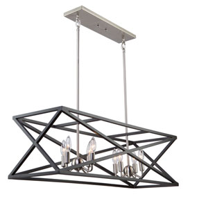 Elements Black and Polished Nickel Eight-Light Island Pendant