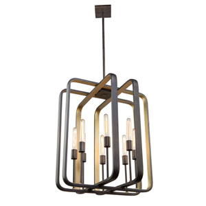 Marlborough Oil Rubbed Bronze and Gold Leaf Eight-Light Chandelier