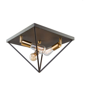 Artistry Matte Black and Satin Brass Three-Light Flush Mount