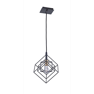 Artistry Matte Black and Harvest Brass 10-Inch One-Light Geometric Mini Mini Pendant