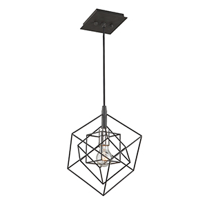 Artistry Matte Black and Harvest Brass 10-Inch One-Light Geometric Mini Pendant