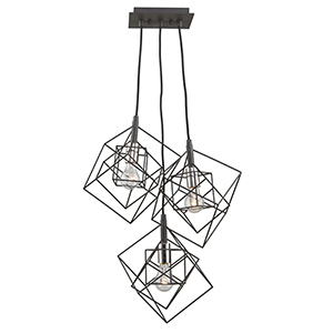 Artistry Matte Black and Harvest Brass 28Inch Three-Light Geometric Chandelier