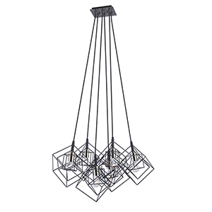 Artistry Matte Black and Harvest Brass 28-Inch Six-Light Geometric Chandelier
