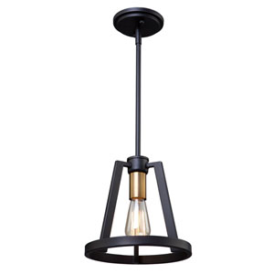Regent Black and Satin Brass One-Light Mini Pendant