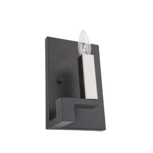 Urban Chic Matte Black and Satin Nickel One-Light Wall Sconce