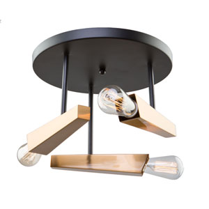 Olympia Black and Satin Brass Three-Light Semi Flush Mount
