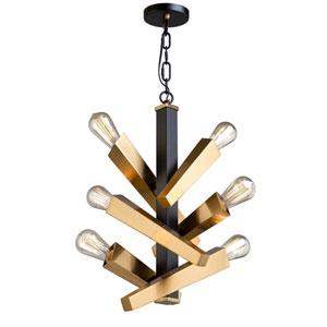 Olympia Black and Satin Brass Six-Light Chandelier