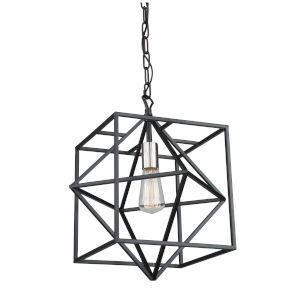 Roxton Matte Black and Polished Nickel One-Light Pendant
