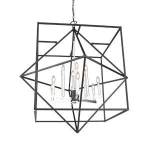 Roxton Matte Black and Polished Nickel 12-Light Chandelier